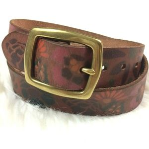 NEW Lucky Brand  Floral Print Belt Brown Leather